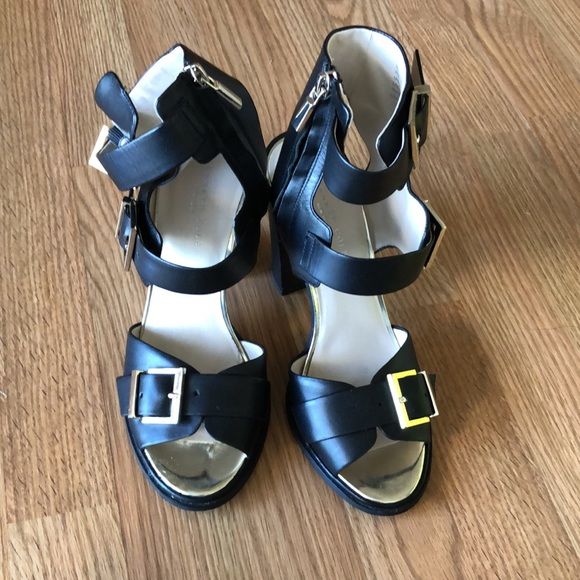 Kenneth Cole size 8 black strappy high heels.